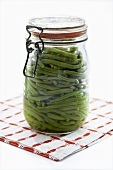 Bottled green beans in jar