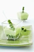 Pea terrine in glass