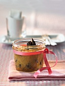 Chocolate cake in jar (for Christmas)