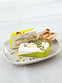 Apple & soft cheese terrine with red peppercorns & toast