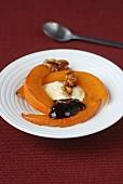 Fried pumpkin with vanilla ice cream and walnuts