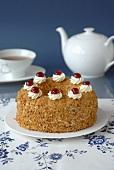 A Frankfurt crown cake with tea