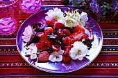 Berry salad with flowers
