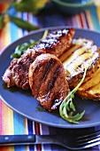 Grilled sirloin steak in honey & mustard marinade with pineapple