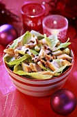 Salad leaves with crabmeat (Christmas)