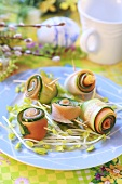 Vegetable rolls on sprouts for Easter
