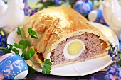 Meat pie with egg for Easter (France)