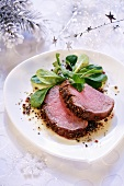 Beef fillet with corn salad (Christmas)