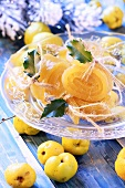 Quince jelly on glass plate (Christmas)