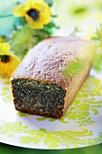 Poppy seed loaf cake, a slice removed