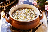 Jewish barley soup with peas