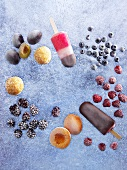 Ice cream lollies and frozen fruit