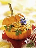 Pumpkin stuffed with shredded pumpkin and parsnip