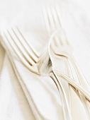 Silver forks on fabric napkin