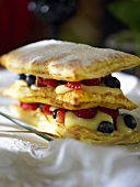 Millefeuille filled with berries and custard