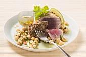 Tuna with chick-pea salad