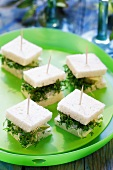 Pear and cheese appetisers with cress