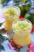 Mango sorbet with lime zest