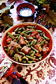 Goulash of green beans and meat
