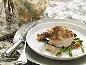 Pheasant breast with morels, Parmesan foam and asparagus