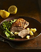 Duck breast with spicy crab apples