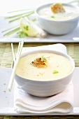 Potato and coconut soup with lemon grass