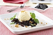 Gingerbread sabayon with prunes and vanilla ice cream