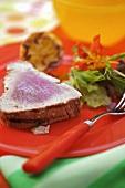 Marinated tuna steak with garlic