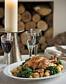 Roast chicken with potatoes and spinach