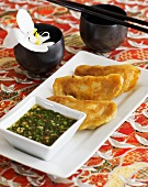 Dim sum (Deep-fried pork & prawn dumplings with coriander sauce, China)