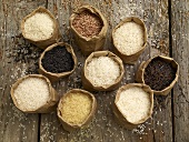 Various types of rice in paper bags