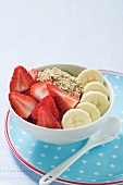 Muesli with banana and strawberries