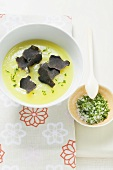 Cream of celery soup with black truffle