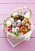 Easter eggs, sausage, baba & Easter lamb in basket (Poland)