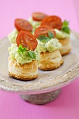 Vol-au-vents filled with basil soft cheese