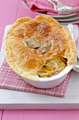 Ham and leek pie with puff pastry crust