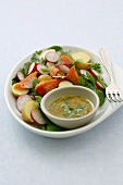 Salad with hot-smoked salmon and mustard dressing