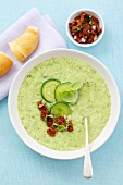 Cold cucumber and basil soup with tomato salsa