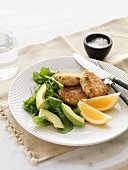 Fish cakes with dandelion and avocado salad