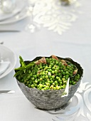 Peas with bacon and mint