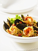 Paella with shellfish and prawns