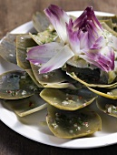 Artichoke leaves with vinaigrette