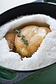 Chicken baked in salt crust