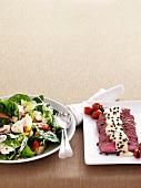 Caesar salad and vitello tonnato