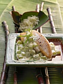 Fried Nile perch with cucumber, tarragon and cream