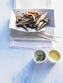 Anchovy tapas with mint and saffron aioli
