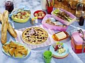 Picknick mit Fingerfood, Salat und Kuchen