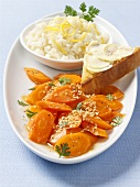 Buttered carrots with sesame seeds and lemon rice
