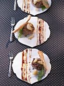 Veal medallions with coffee sauce and caramelised garlic