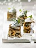 Mushroom terrine with herb crème fraîche